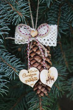 Couple dornement de Noël première Pine cone décor/Couple