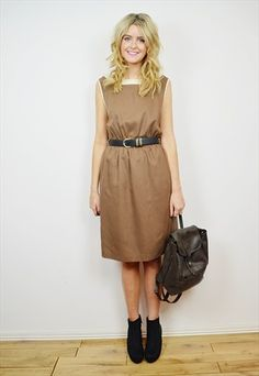 VINTAGE 80's Brown & Cream Midi Dress