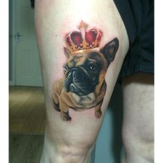 Super enjoyed tattooing King Chase the French bulldog today. Thank you Sadie for sitting so well, it's been a longggg day  #tattoo…