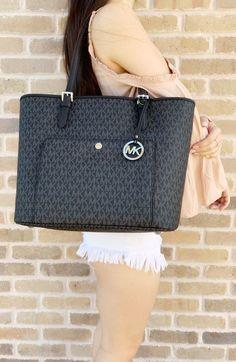 5520e4808a3446 Michael Kors Jet Set Large Top Zip Snap Pocket Tote Handbag Black MK  Signature #MichaelKors