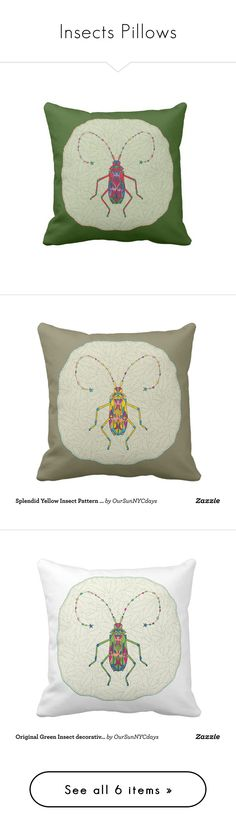 """Insects Pillows"" by oursunnycdays ❤ liked on Polyvore featuring home, home decor, throw pillows, decor, red throw pillows, green toss pillows, red home accessories, green throw pillows, red accent pillows and yellow home accessories"