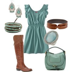 Love the soft turquoise color but if warm enough for a sleeveless dress it will be too hot for the boots - i would wear cute sandles or wedges.
