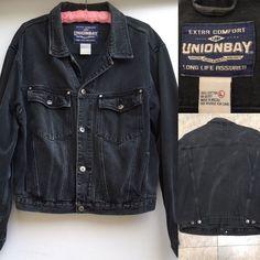 VTG Union Bay Denim Jacket Jean Jacket Faded Black Size L  | eBay