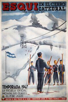 Vintage poster:      Esquí en el Cerro Catedral - Argentia Patagonia  by E. de Olmos