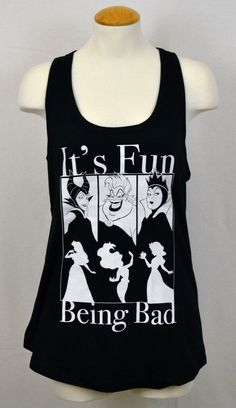 Disney Villainesses Tank Top Evil Ladies T-shirt Women Graphic Tee Black NWT Disney Shirts For Family, Shirts For Teens, T Shirts For Women, After School, Disney Tank Tops, Disney Outfits, Skinny Fit, Dinner, Lady