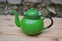 Green Enamel Mini Tea Pot by AmHil704 on Etsy