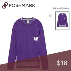 UNIVERSITY OF WASHINGTON LONG SLEEVE Size L but runs big so can fit XL ALSO PINK Victoria's Secret Tops Tees - Long Sleeve