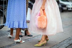 A guest wearing a bag is seen outside Stine Goya during the Copenhagen Fashion Week Spring/Summer 2019 on August 8 2018 in Copenhagen Denmark Lace Skirt, Midi Skirt, Copenhagen Fashion Week, Nicholas Kirkwood, Roger Vivier, Fall Shoes, Fashion Pictures, Diane Von Furstenberg, Balenciaga