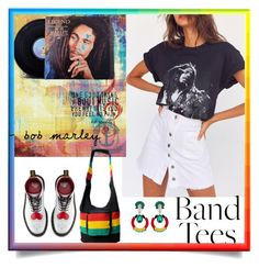 """""""Band Tees"""" by karenxxander ❤ liked on Polyvore featuring Urban Outfitters, Dr. Martens, REMINISCENCE and West Elm"""