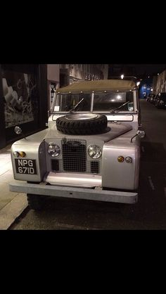 Land Rover 88 Serie II A soft top. Wonderful at night.