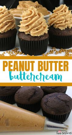 Looking for something unusual to top your chocolate cake or cupcakes - how about our amazing Best Peanut Butter Buttercream Frosting? Large Cupcake Cakes, Homemade Chocolate Buttercream Frosting, Chocolate Cake Mix Recipes, Easy Buttercream Frosting, Peanut Butter Frosting, Cupcake Ideas, Cupcake Recipes, Dessert Recipes, Butter Cupcakes