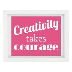 Creativity Takes Courage, Inspirational Quote, Typography Print, Craft Room Decor, Henri Matisse Quote, 8 x 10 Print, Under 25