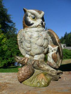 Vintage Owl Figurine / Statue UCGC Taiwan Ceramic by KathiJanes, $19.95