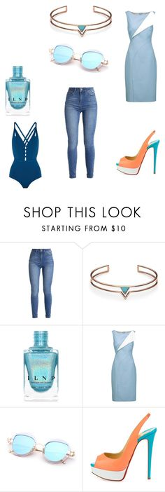 """""""With blue 66"""" by audjvoss ❤ liked on Polyvore featuring FOSSIL, Oscar de la Renta, Christian Louboutin and Ephemera"""
