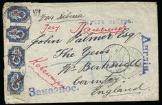 RUSSIAN OFFICES IN CHINA - England, 1903 Registered cover (opened for display) to Coventry via Siberia franked on reverse with marginal bloc...