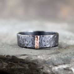 14K Rose Gold and Black Sterling Silver Band - Flat Pipe Style - Men's or Ladies Jewellery - 6mm Wedding Bands - Mixed Metal - Stacking Ring on Etsy, $225.00