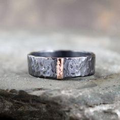 14K Rose Gold und schwarz silber Band  flache Rohr von ASecondTime