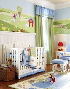 Farm animals are perfect for a boy or a girl. We painted a simple graphic of a pasture on the walls, and then applied farm-inspired decals. Beadboard wainscoting creates a cottage-y feel with the molding serving as a small display ledge. Gingham panels and a valance give the room a finished feel.