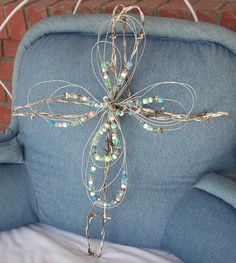Bead and barbed wire cross by AuntCindys on Etsy, $18.00