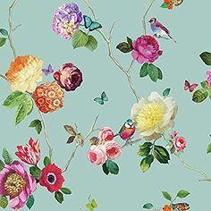 Arthouse Tapete verzauberte Blumen Vogel Schmetterling Rose Blumenmotiv - Blaugrün mehrfarbig 889800, http://www.amazon.de/dp/B00WIM9S6A/ref=cm_sw_r_pi_awdl_x_e226xb44VR5S7