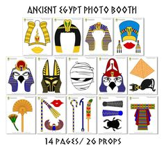 Ancient Egypt Photo Booth Props 28 Pieces 26 by HappyFiestaDesign Ancient Egypt Civilization, Ancient Egypt Art, Ancient Egyptian Jewelry, Ancient Civilizations, Ancient Egypt Fashion, Egypt Crafts, Egyptian Party, Foto Fun, Egyptian Pharaohs