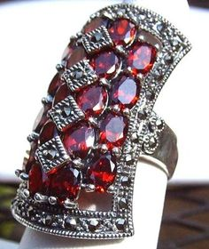 Pyrope garnet and marcasite medieval ring