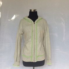 Old navy Gray hoody jacket size medium This jacket is a synthetic blend which looks like cashmere. It's a soft heather gray with green chartreuse stitching. Size medium. Old Navy Jackets & Coats