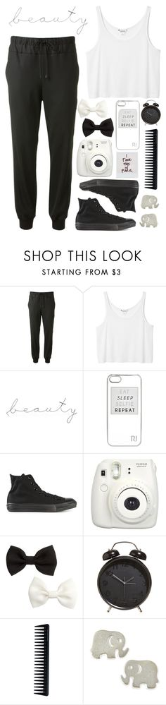 """""""Untitled #50"""" by caylagonzales ❤ liked on Polyvore featuring Public School, Monki, WALL, River Island, Converse, Fujifilm, H&M, GHD and Dogeared"""