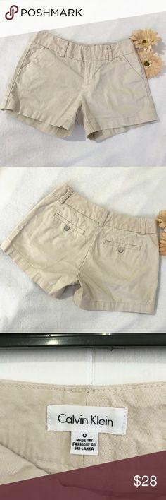"""Calvin Klein Beige Women Shorts Calvin Klein Beige Women Shorts. Size: 0. Barely used. Still in very good condition. No stains or rips. Non smoke home. 👉Measurement waist to waist:: 15"""" 👉Waist to hem: 11.5"""" 👉Inseam: 4"""" Calvin Klein Shorts"""