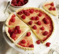White chocolate & cardamom tart with raspberry dust