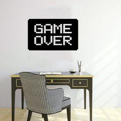 Wall Decal Vinyl Sticker Decals Art Home Decor Design Murals Game Over Logo Gamer Gaming Boy Room Nursery Bedroom Dorm