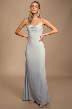 All eyes will be on you in the Lulus Captivated Light Grey Cowl Neck Maxi Dress! Sleeveless maxi dress with cowl neckline and figure-skimming mermaid skirt. Mermaid Skirt, Mermaid Dresses, Chiffon Maxi Dress, Maxi Dress With Sleeves, Sheer Chiffon, Grey Prom Dress, Prom Dresses, Light Grey Bridesmaid Dresses, Cowl Neck Dress