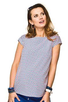 Tečkovaná halenka pro těhotné bílé barvy Polka Dot Top, Tops, Women, Fashion, Moda, Fashion Styles, Fashion Illustrations, Woman