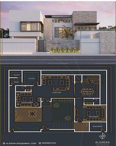 3d House Plans, Home Design Floor Plans, Villa Design, House Design, Villa Plan, Brick Construction, Architecture Plan, Big Houses, New Homes