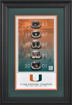 Miami Hurricanes 5-Time National Champions 10x18 Framed Legacy Print