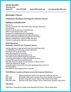 Resume For Bartender Bartender From 05101011 At Canzaciti Roadhouse Located At 40