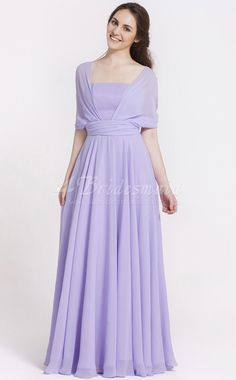 Princess Off The Shoulder,With Sleeves Chiffon Floor-length Lilac Bridesmaid Dresses(BD091)