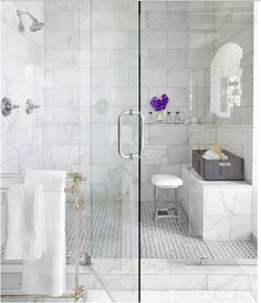 Marble, frameless glass, towel rack