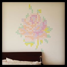 Cross stitch rose made out of washi tape took me a few days to finish it