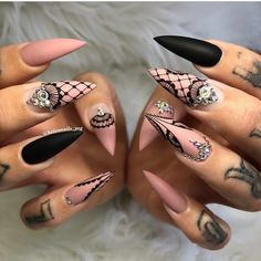 52 pretty nail art patterns decorated and simple 2019 - Page 51 of 52 - Nail D . - 52 pretty nail art patterns decorated and simple 2019 – page 51 of 52 – nail designs & manicure - Nail Art Designs, Pretty Nail Designs, Acrylic Nail Designs, Nails Design, Stiletto Nail Art, Cute Acrylic Nails, Gel Nails, Toenails, Fishnet Nails