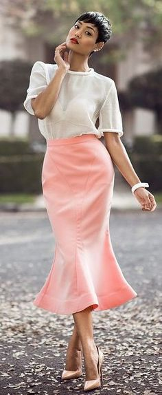 White & Peach Chic Style by Micah Gianneli