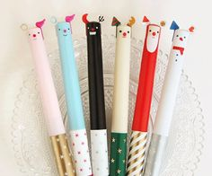 cute pens. i love stationary and matching pens and pencils and erasers...