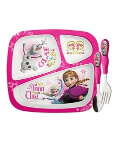 Look at this Frozen Three-Piece Dinnerware Set on #zulily today!