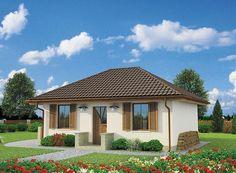 Projekt domu parterowego Bayamo dom letniskowy o pow. 43,88 m2 z dachem kopertowym, z tarasem, z wykuszem, z wejściem od południa, sprawdź!