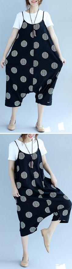 US$ 29.45 Fashion Women Polka Dot Spaghetti Strap Two Ways Wear Jumpsuit Rompers