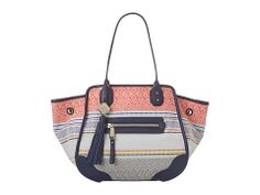 Rafe New York Mercado Large Tote in navy multi woven linen with navy leather trim, available @Zappos online