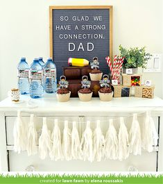 Fun Father's Day Party Decor with Elena! - Lawn Fawn Lawn Fawn Blog, Lawn Fawn Stamps, Best Candy, Dad Mug, Candy Boxes, Stack Of Books, Bottle Labels, Best Part Of Me, Some Fun