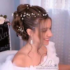 Hairdo For Long Hair, Cute Hairstyles For Medium Hair, Braided Hairstyles, Bridal Hair Buns, Bridal Hair And Makeup, Hair Makeup, Hair Up Styles, Medium Hair Styles, Hair Style Vedio