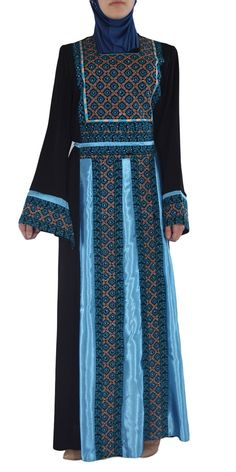 41dda7b03d Blue-Diamond Sparkles Embroidered Ghaniyah Ribboned Thobe TH782