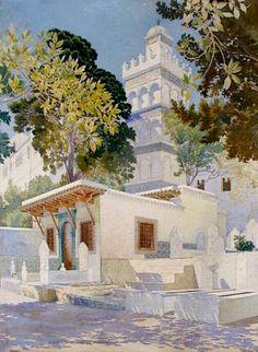 Algérie - Peintre Français, CharlesPichon (1888-1957), Technique: Aquarelle, Titre :Mosquée Sidi Abderrahmene à  Alger